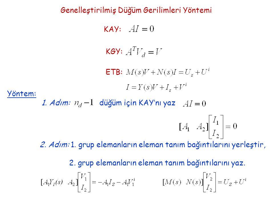 Genelleştirilmiş Düğüm Gerilimleri Yöntemi KAY: KGY: ETB: Yöntem: 1.