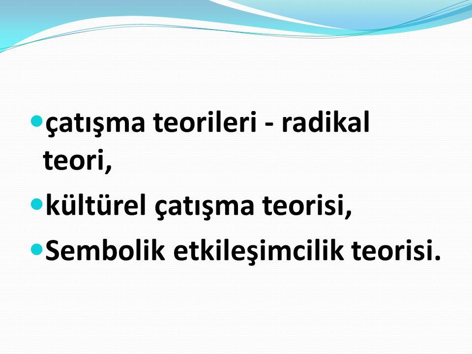 çatışma teorileri - radikal teori, kültürel çatışma teorisi, Sembolik etkileşimcilik teorisi.