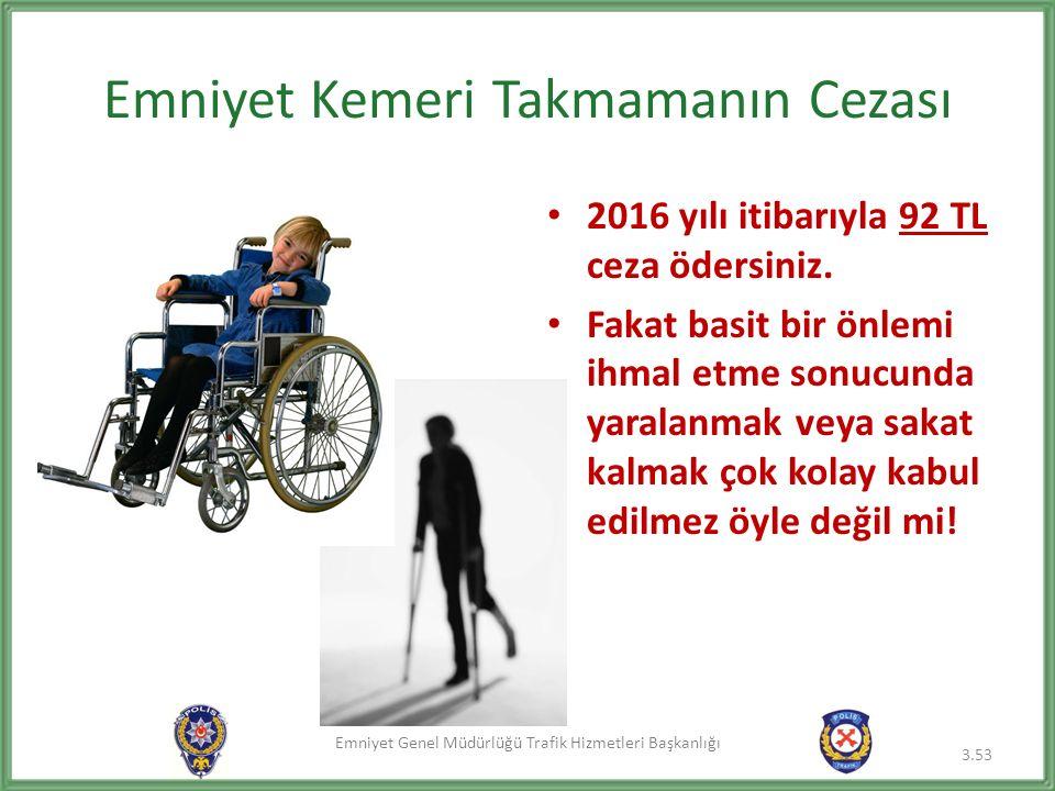 Emniyet Genel Müdürlüğü Trafik Hizmetleri Başkanlığı Emniyet Kemeri Takmamanın Cezası 2016 yılı itibarıyla 92 TL ceza ödersiniz.