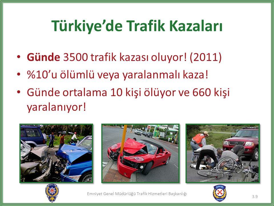Emniyet Genel Müdürlüğü Trafik Hizmetleri Başkanlığı Türkiye'de Trafik Kazaları Günde 3500 trafik kazası oluyor! (2011) %10'u ölümlü veya yaralanmalı