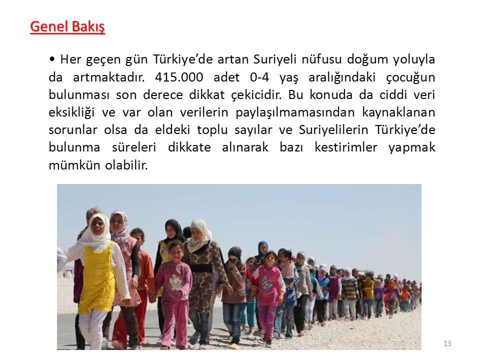 Genel Bakış Her geçen gün Türkiye'de artan Suriyeli nüfusu doğum yoluyla da artmaktadır. 415.000 adet 0-4 yaş aralığındaki çocuğun bulunması son derec
