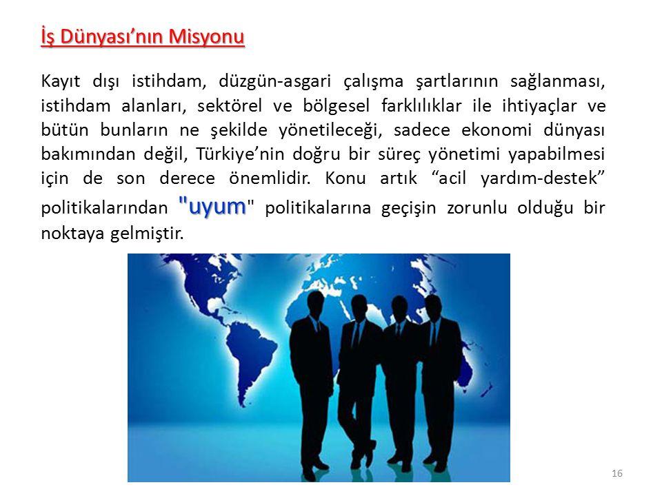 uyum Kayıt dışı istihdam, düzgün-asgari çalışma şartlarının sağlanması, istihdam alanları, sektörel ve bölgesel farklılıklar ile ihtiyaçlar ve bütün bunların ne şekilde yönetileceği, sadece ekonomi dünyası bakımından değil, Türkiye'nin doğru bir süreç yönetimi yapabilmesi için de son derece önemlidir.