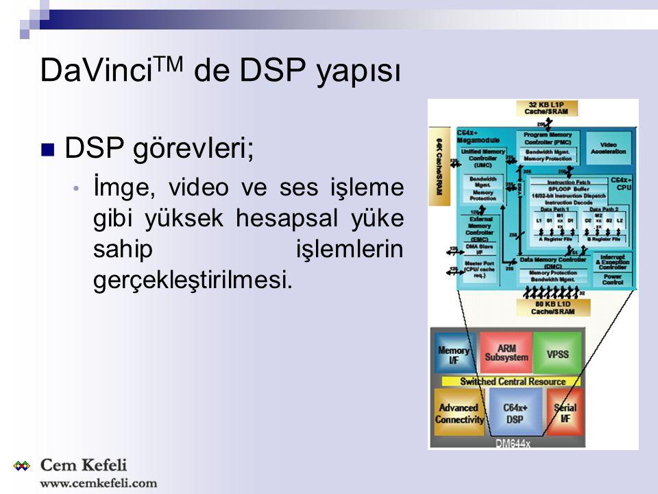DaVinci TM de DSP Özellikleri 594-MHz C64x+™ Clock Rate 32-Bit C64x+ Instructions/Cycle 32K-Byte L1P Program RAM/Cache (Direct Mapped) 80K-Byte L1D Data RAM/Cache (2-Way Set-Associative) Endianness: Little Endian for ARM and DSP