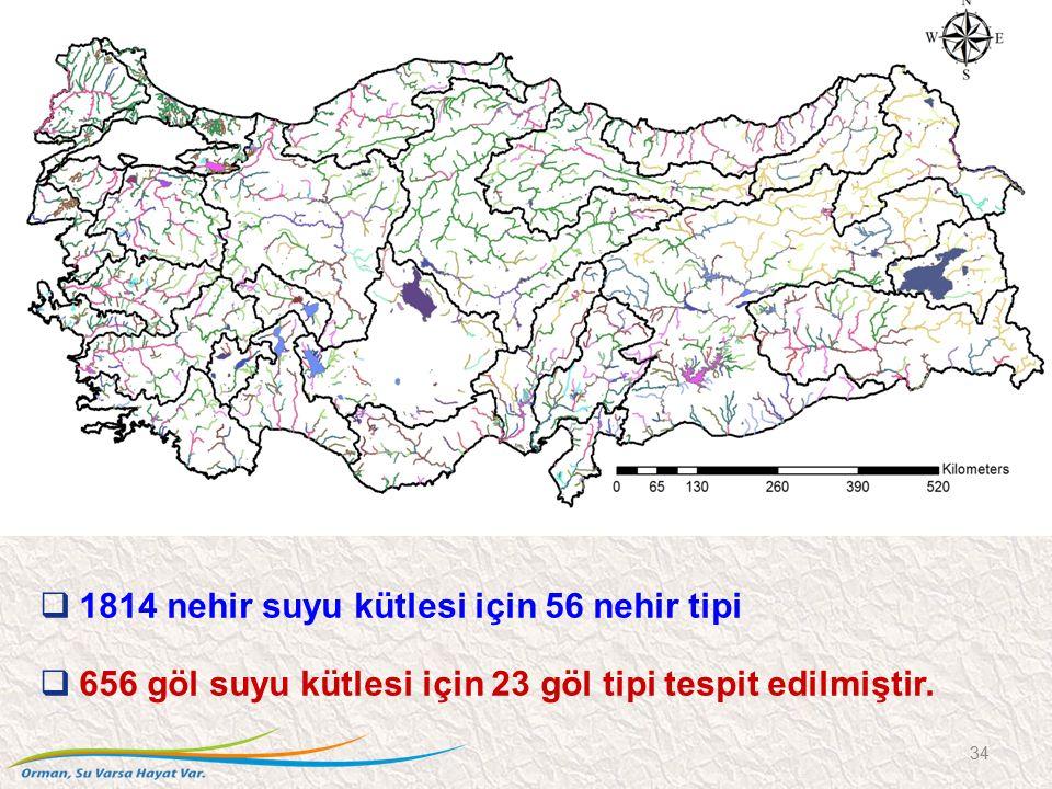 1814 nehir suyu kütlesi için 56 nehir tipi  656 göl suyu kütlesi için 23 göl tipi tespit edilmiştir. 34