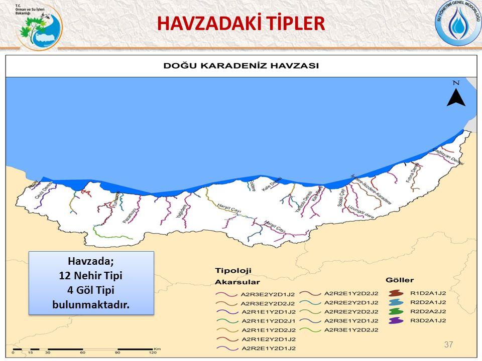 37 Havzada; 12 Nehir Tipi 4 Göl Tipi bulunmaktadır.