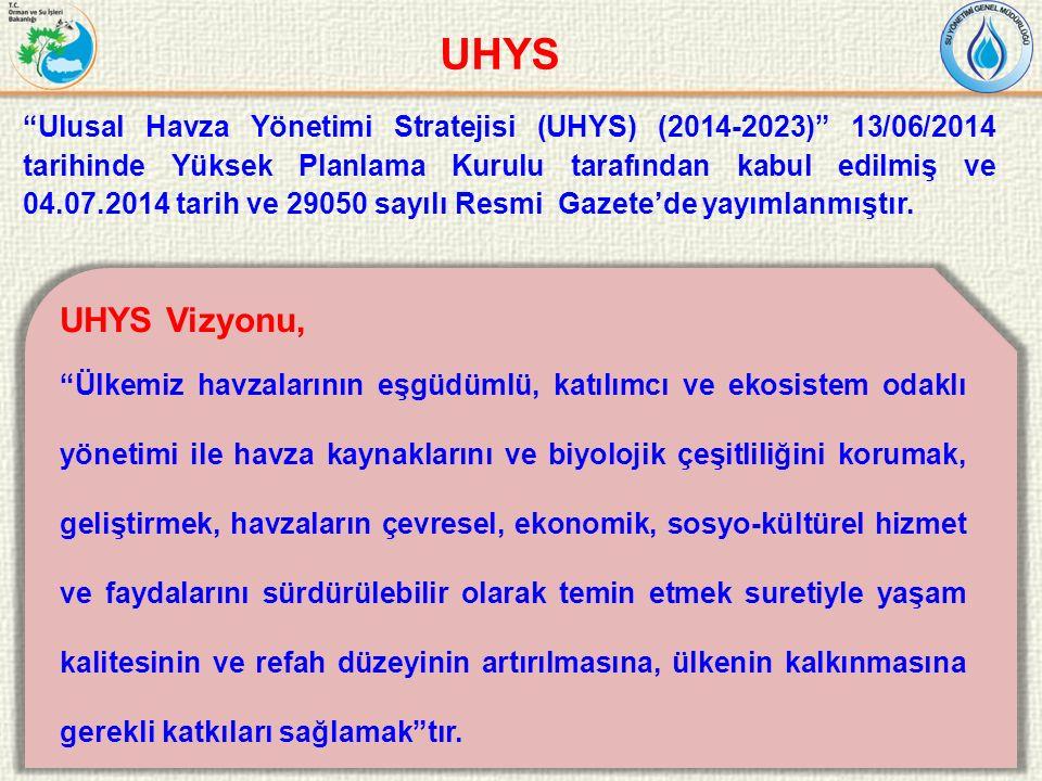 """26 """"Ulusal Havza Yönetimi Stratejisi (UHYS) (2014-2023)"""" 13/06/2014 tarihinde Yüksek Planlama Kurulu tarafından kabul edilmiş ve 04.07.2014 tarih ve 2"""