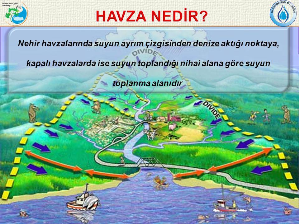 Nehir havzalarında suyun ayrım çizgisinden denize aktığı noktaya, kapalı havzalarda ise suyun toplandığı nihai alana göre suyun toplanma alanıdır.