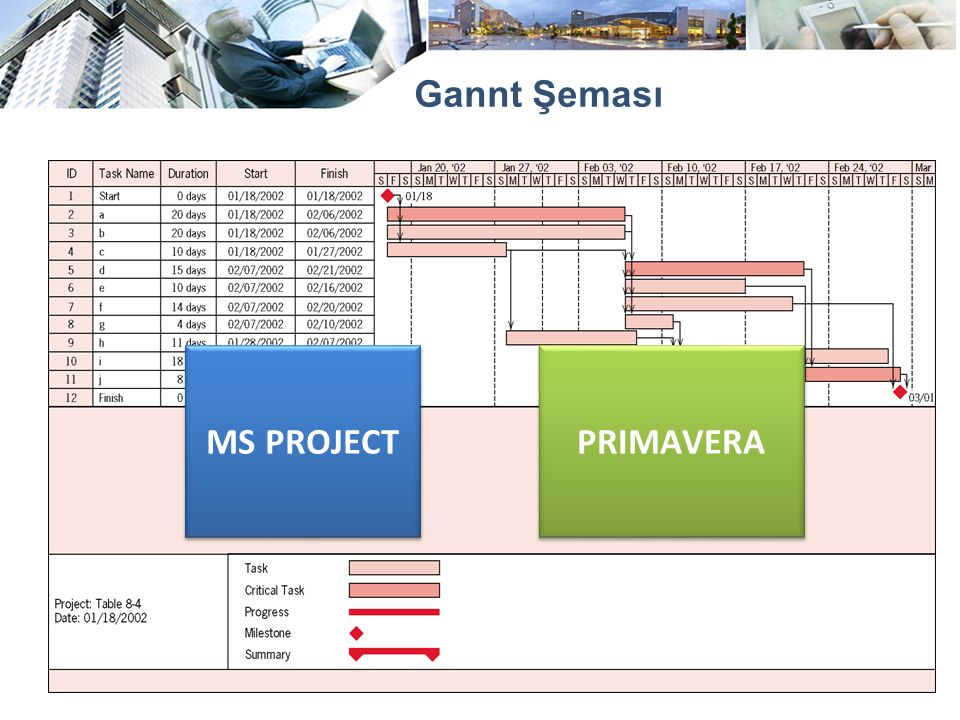 Gannt Şeması MS PROJECT PRIMAVERA