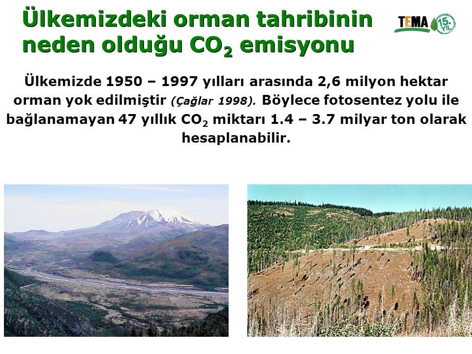 Ülkemizdeki orman tahribinin neden olduğu CO 2 emisyonu Ülkemizdeki orman tahribinin neden olduğu CO 2 emisyonu Ülkemizde 1950 – 1997 yılları arasında