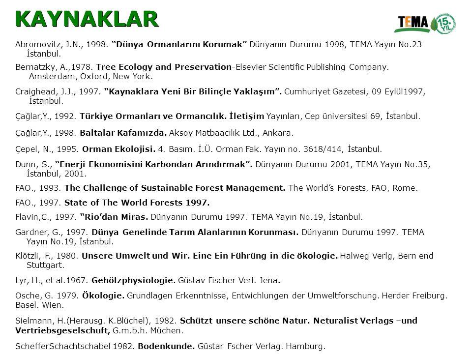 """Abromovitz, J.N., 1998. """"Dünya Ormanlarını Korumak"""" Dünyanın Durumu 1998, TEMA Yayın No.23 İstanbul. Bernatzky, A.,1978. Tree Ecology and Preservation"""