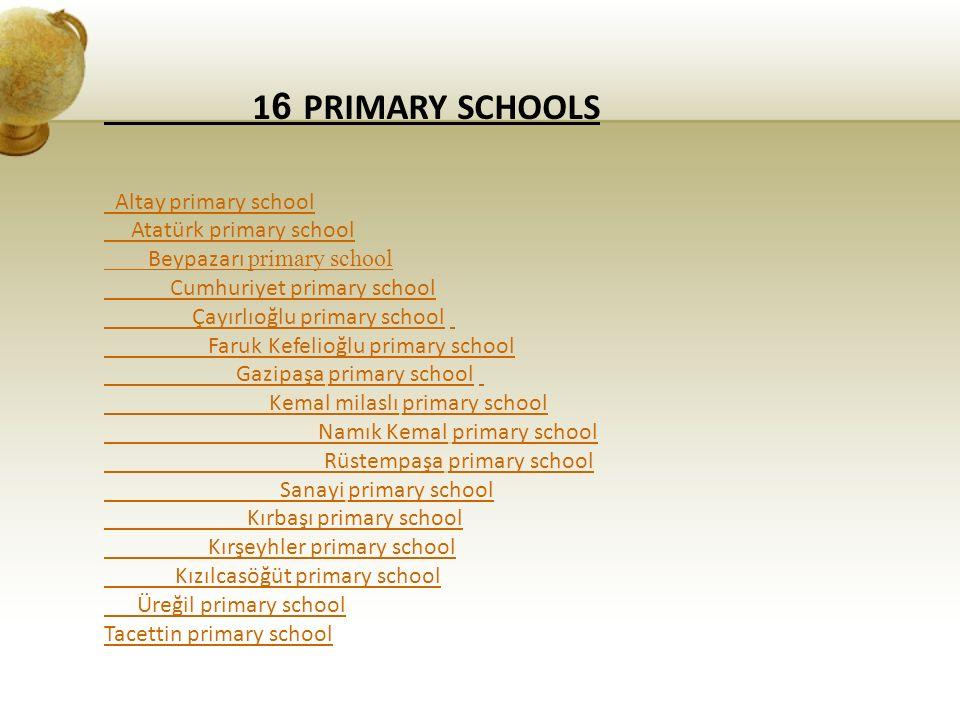 1 6 PRIMARY SCHOOLS Altay primary school Atatürk primary school Beypazarı primary school Cumhuriyet primary school Çayırlıoğlu primary school Faruk Ke
