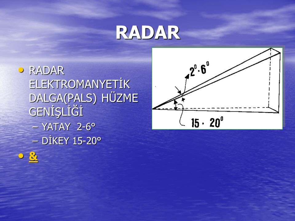 RADAR RADAR ELEKTROMANYETİK DALGA(PALS) HÜZME GENİŞLİĞİ RADAR ELEKTROMANYETİK DALGA(PALS) HÜZME GENİŞLİĞİ –YATAY 2-6° –DİKEY 15-20° & &