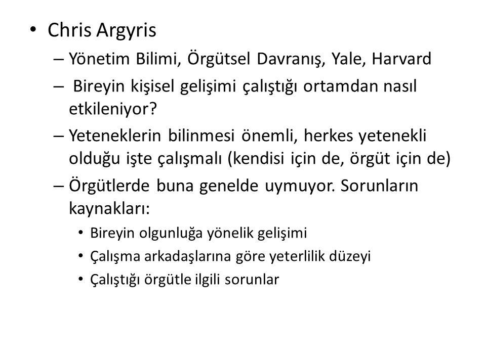 Chris Argyris – Yönetim Bilimi, Örgütsel Davranış, Yale, Harvard – Bireyin kişisel gelişimi çalıştığı ortamdan nasıl etkileniyor.