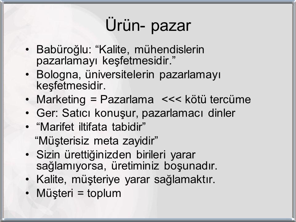 Ürün- pazar Babüroğlu: Kalite, mühendislerin pazarlamayı keşfetmesidir. Bologna, üniversitelerin pazarlamayı keşfetmesidir.
