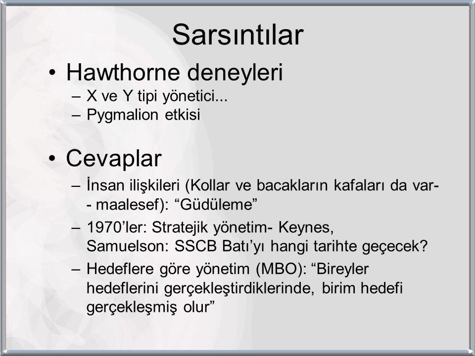 Sarsıntılar Hawthorne deneyleri –X ve Y tipi yönetici...