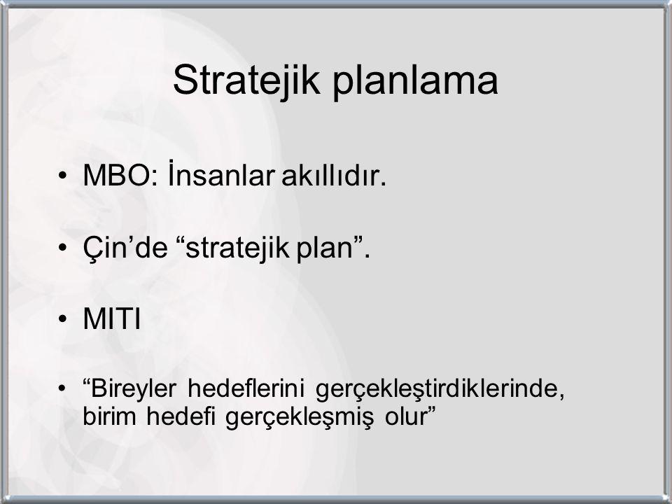 Stratejik planlama MBO: İnsanlar akıllıdır. Çin'de stratejik plan .