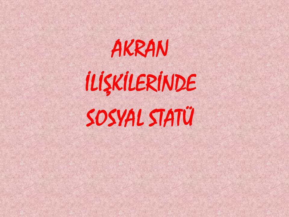 AKRAN İLİŞKİLERİNDE SOSYAL STATÜ