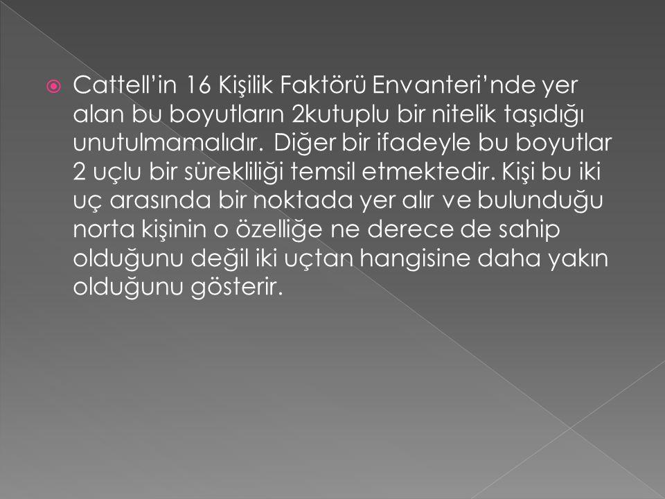  Cattell'in 16 Kişilik Faktörü Envanteri'nde yer alan bu boyutların 2kutuplu bir nitelik taşıdığı unutulmamalıdır.