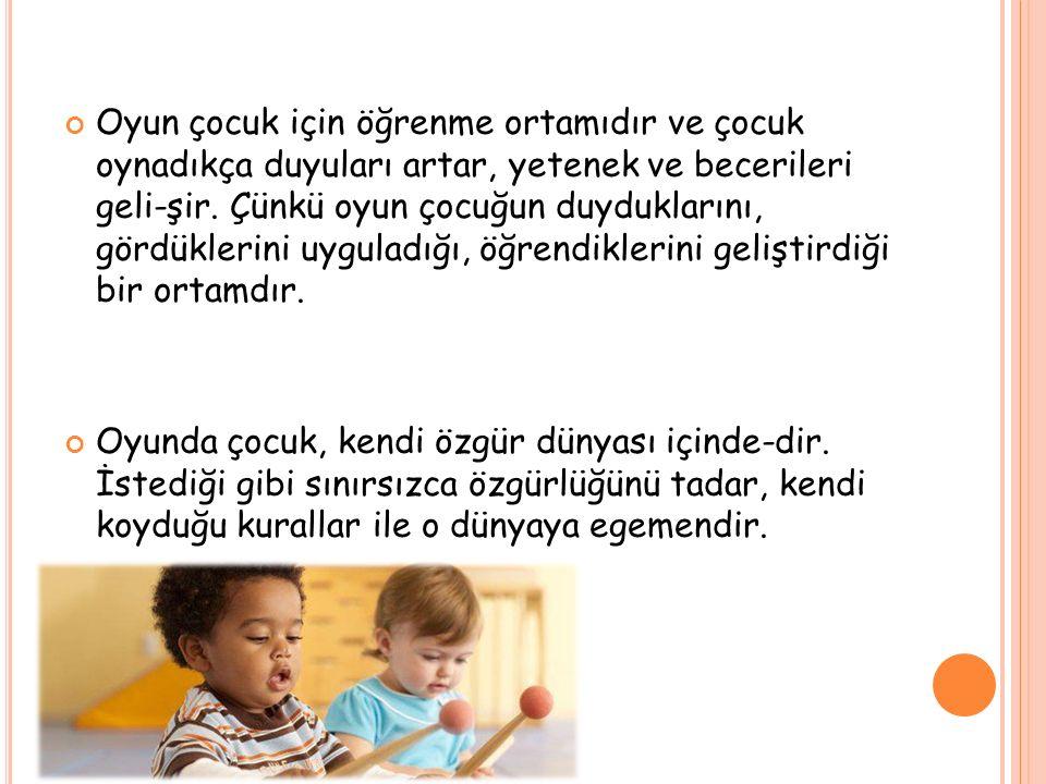 Oyun çocuk için öğrenme ortamıdır ve çocuk oynadıkça duyuları artar, yetenek ve becerileri geli-şir. Çünkü oyun çocuğun duyduklarını, gördüklerini uyg