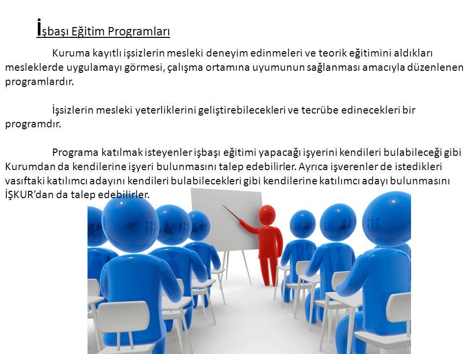 İ şbaşı Eğitim Programları Kuruma kayıtlı işsizlerin mesleki deneyim edinmeleri ve teorik eğitimini aldıkları mesleklerde uygulamayı görmesi, çalışma