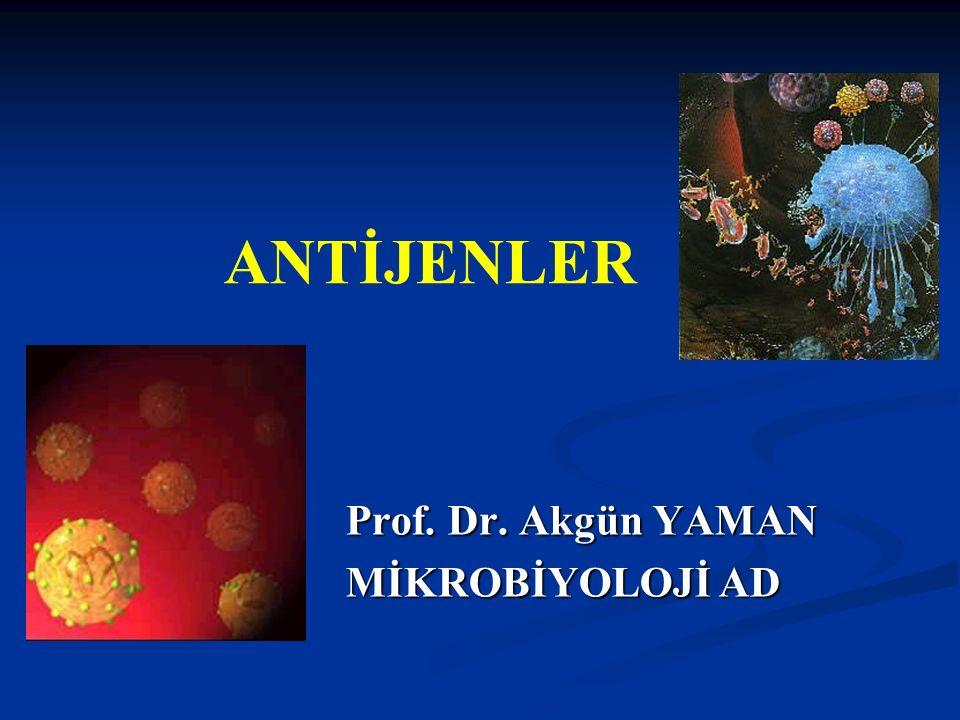 Prof. Dr. Akgün YAMAN MİKROBİYOLOJİ AD MİKROBİYOLOJİ AD ANTİJENLER