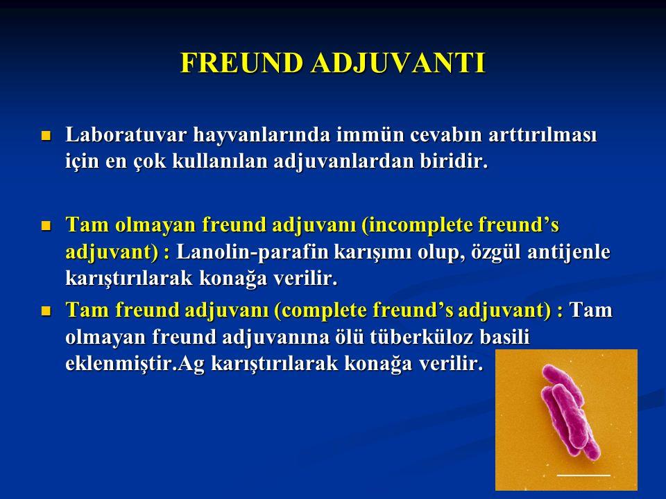 FREUND ADJUVANTI Laboratuvar hayvanlarında immün cevabın arttırılması için en çok kullanılan adjuvanlardan biridir. Laboratuvar hayvanlarında immün ce
