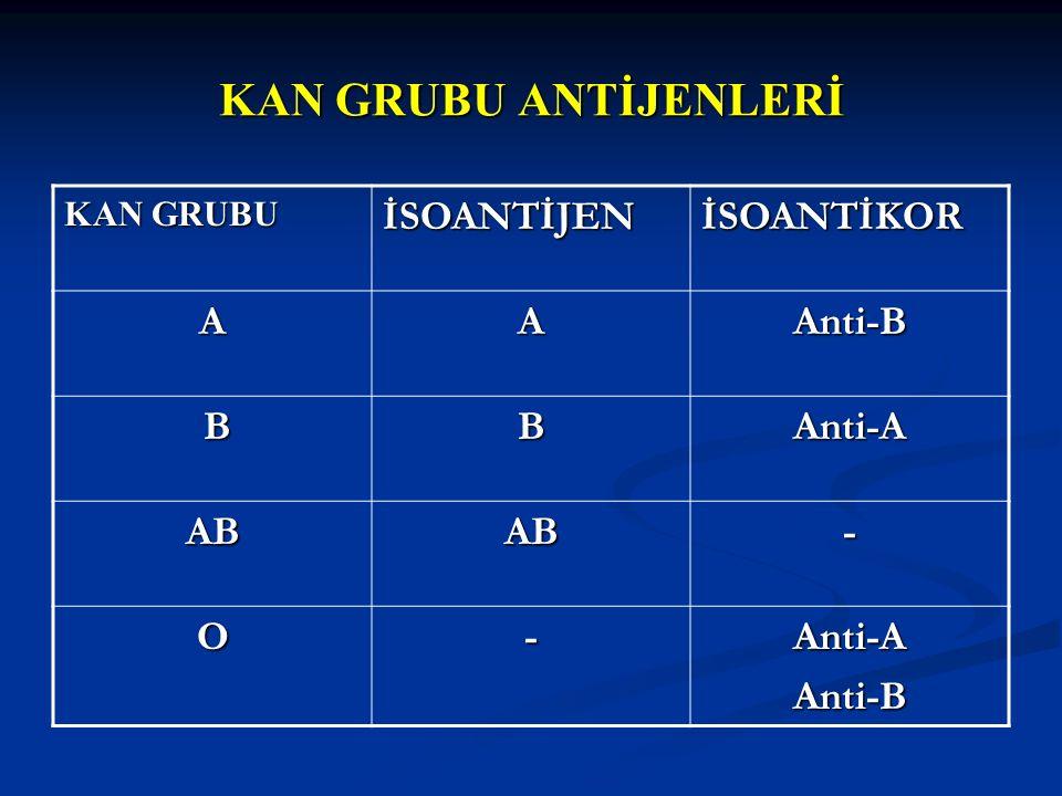 KAN GRUBU İSOANTİJENİSOANTİKOR AAAnti-B BBAnti-A ABAB- O-Anti-AAnti-B