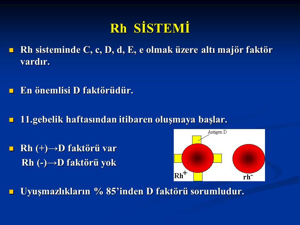 Rh SİSTEMİ Rh sisteminde C, c, D, d, E, e olmak üzere altı majör faktör vardır. Rh sisteminde C, c, D, d, E, e olmak üzere altı majör faktör vardır. E