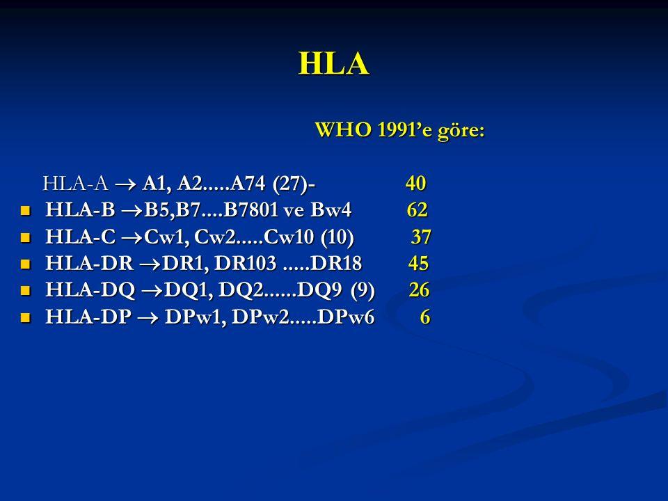 HLA WHO 1991'e göre: WHO 1991'e göre: HLA-A  A1, A2.....A74 (27)- 40 HLA-A  A1, A2.....A74 (27)- 40 HLA-B  B5,B7....B7801 ve Bw4 62 HLA-B  B5,B7..