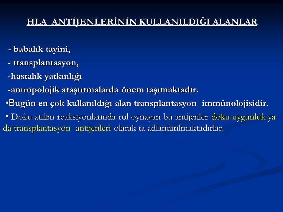 HLA ANTİJENLERİNİN KULLANILDIĞI ALANLAR - babalık tayini, - babalık tayini, - transplantasyon, - transplantasyon, -hastalık yatkınlığı -hastalık yatkı