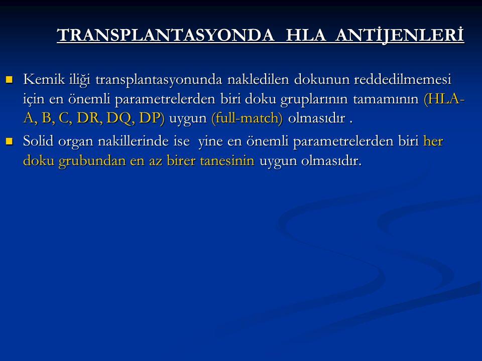 TRANSPLANTASYONDA HLA ANTİJENLERİ Kemik iliği transplantasyonunda nakledilen dokunun reddedilmemesi için en önemli parametrelerden biri doku grupların