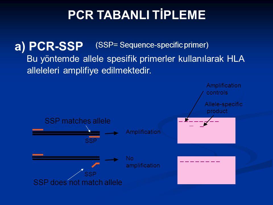 PCR TABANLI TİPLEME a) PCR-SSP Bu yöntemde allele spesifik primerler kullanılarak HLA alleleleri amplifiye edilmektedir. SSP Amplification No amplific