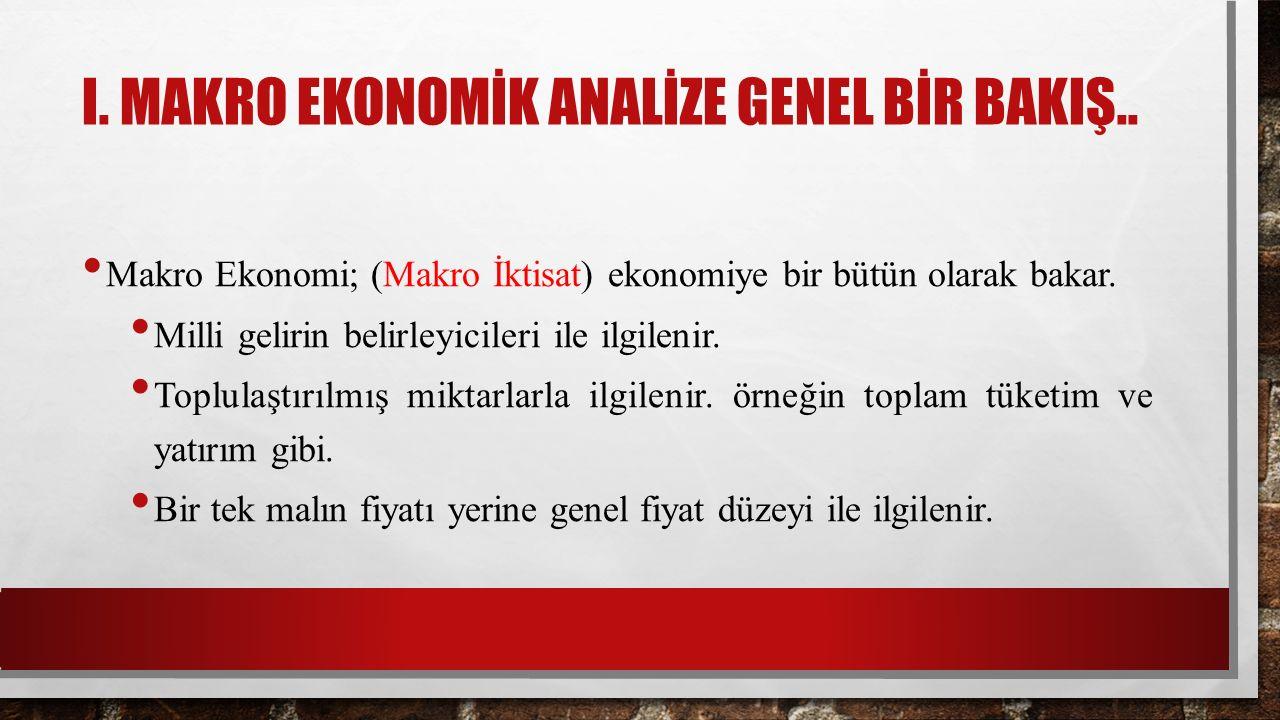 I. MAKRO EKONOMİK ANALİZE GENEL BİR BAKIŞ..