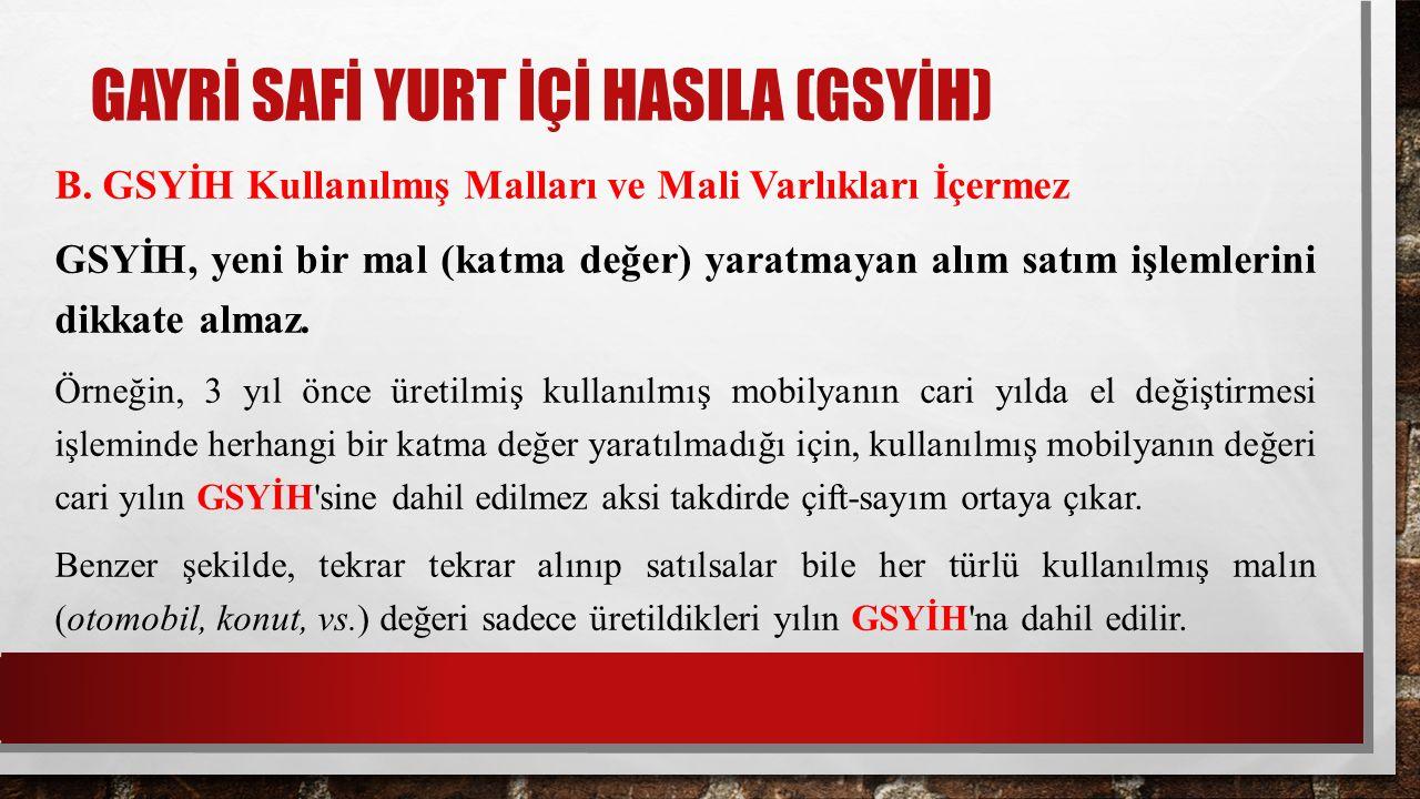 GAYRİ SAFİ YURT İÇİ HASILA (GSYİH) B.