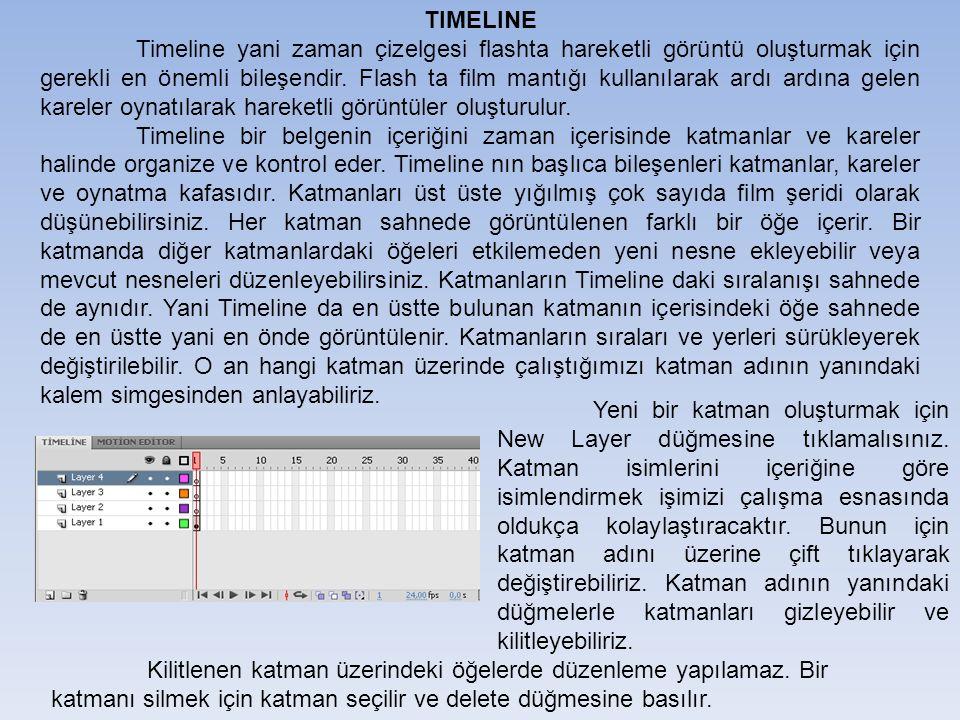 TIMELINE Timeline yani zaman çizelgesi flashta hareketli görüntü oluşturmak için gerekli en önemli bileşendir.