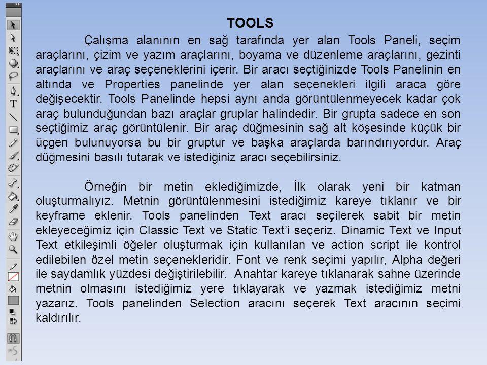 TOOLS Çalışma alanının en sağ tarafında yer alan Tools Paneli, seçim araçlarını, çizim ve yazım araçlarını, boyama ve düzenleme araçlarını, gezinti araçlarını ve araç seçeneklerini içerir.