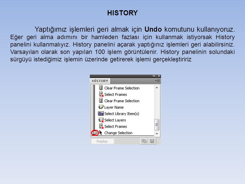 HISTORY Yaptığımız işlemleri geri almak için Undo komutunu kullanıyoruz.