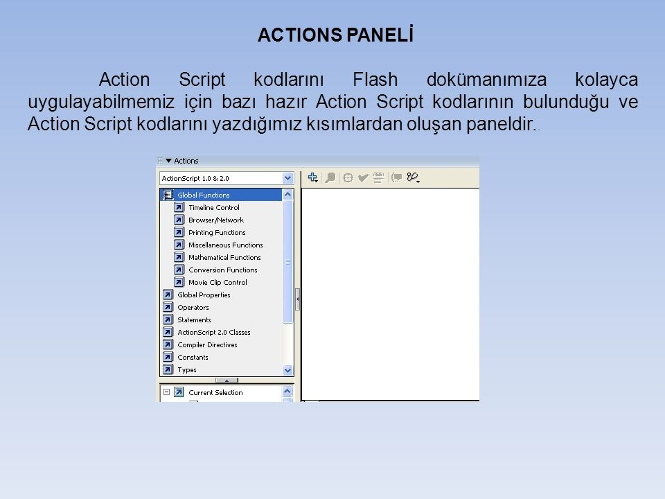 ACTIONS PANELİ Action Script kodlarını Flash dokümanımıza kolayca uygulayabilmemiz için bazı hazır Action Script kodlarının bulunduğu ve Action Script kodlarını yazdığımız kısımlardan oluşan paneldir..