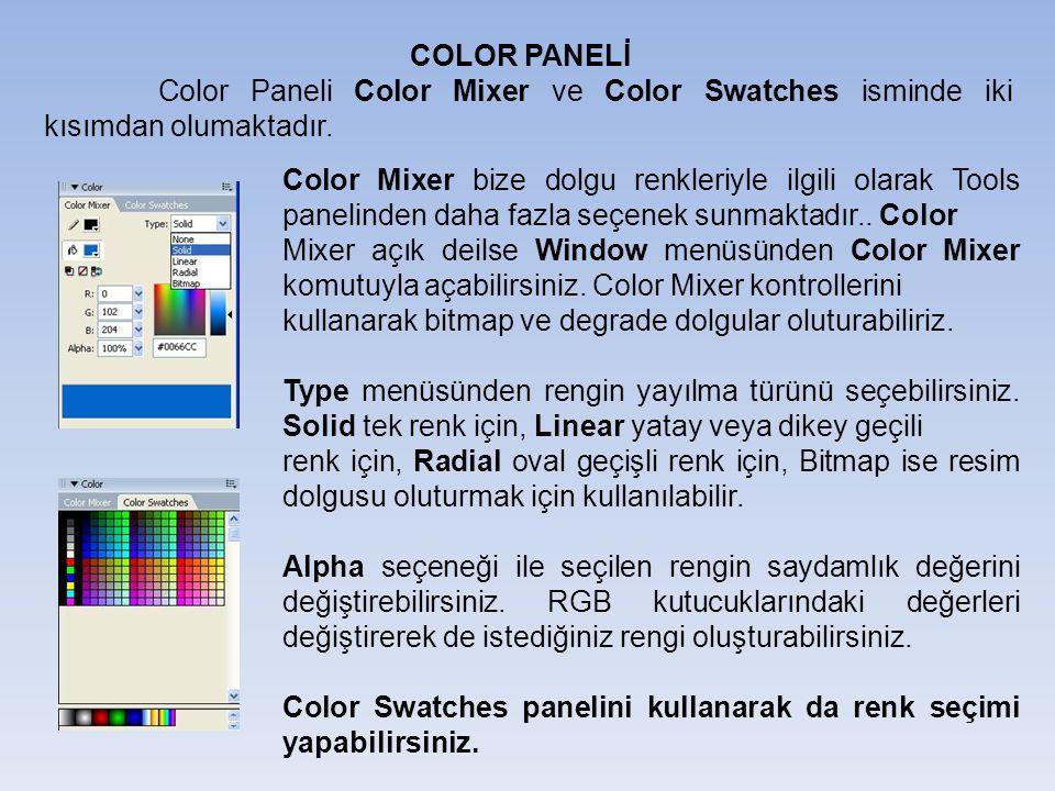 COLOR PANELİ Color Paneli Color Mixer ve Color Swatches isminde iki kısımdan olumaktadır.