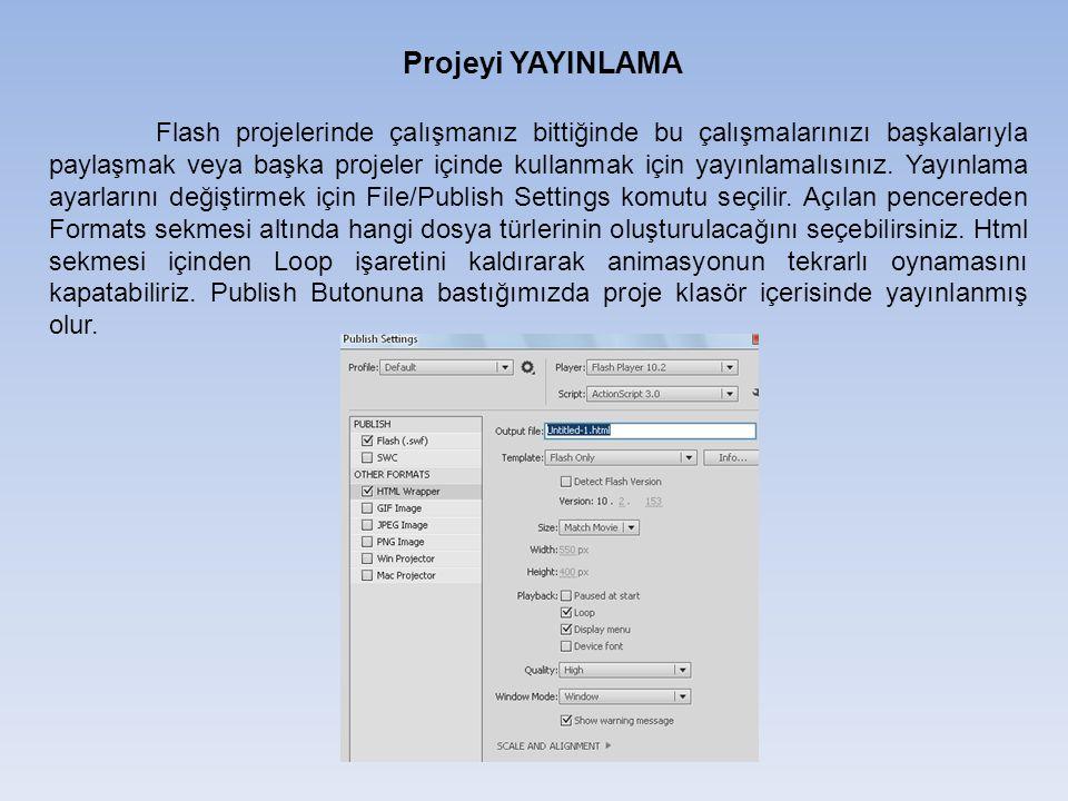 Projeyi YAYINLAMA Flash projelerinde çalışmanız bittiğinde bu çalışmalarınızı başkalarıyla paylaşmak veya başka projeler içinde kullanmak için yayınlamalısınız.