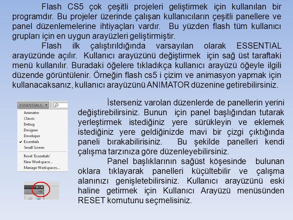 Flash CS5 çok çeşitli projeleri geliştirmek için kullanılan bir programdır.