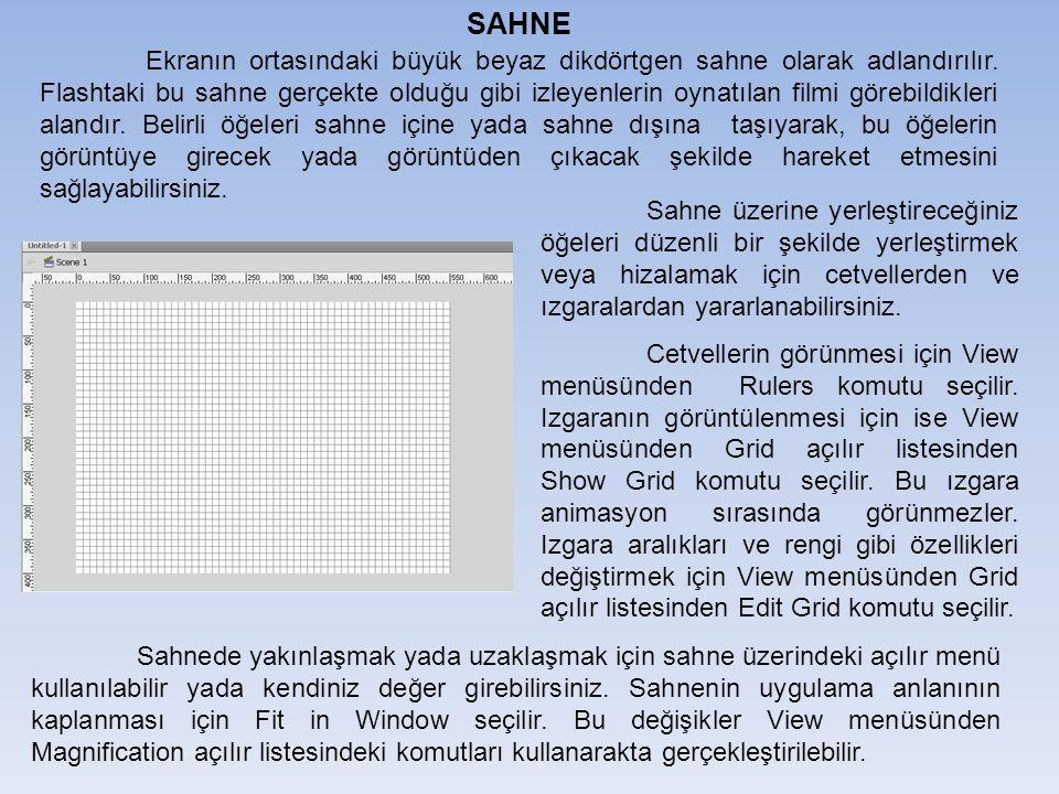 SAHNE Ekranın ortasındaki büyük beyaz dikdörtgen sahne olarak adlandırılır.
