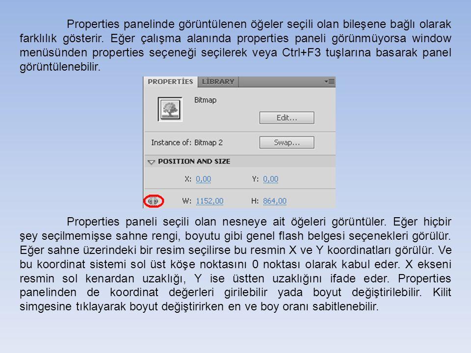 Properties panelinde görüntülenen öğeler seçili olan bileşene bağlı olarak farklılık gösterir.