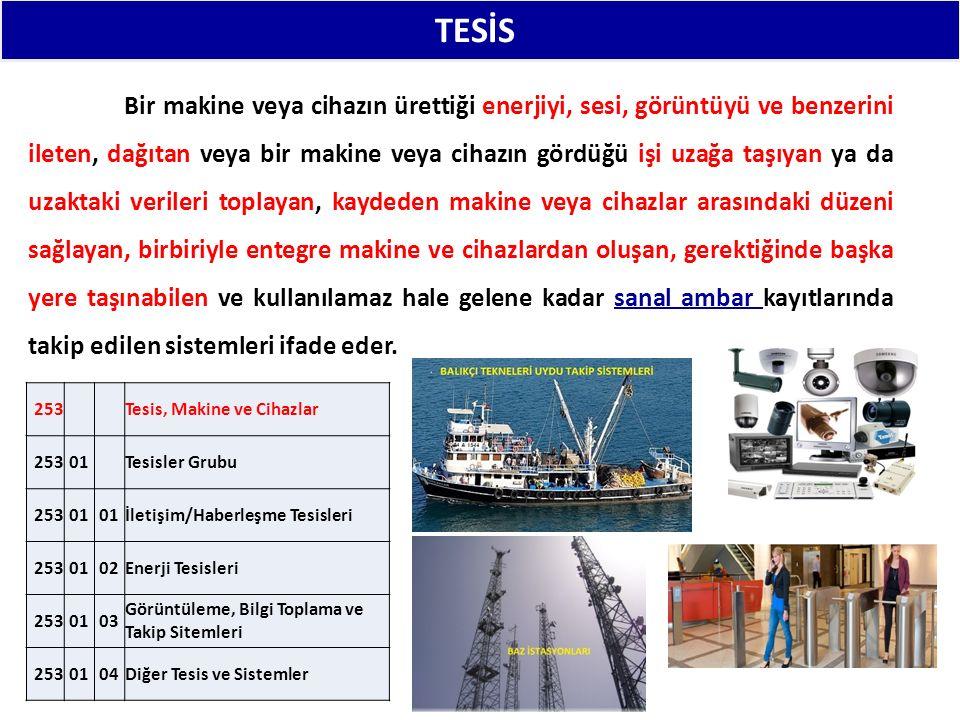 TESİS: 253 Tesis, Makine ve Cihazlar 25301 Tesisler Grubu 25301 İletişim/Haberleşme Tesisleri 2530102Enerji Tesisleri 2530103 Görüntüleme, Bilgi Toplama ve Takip Sitemleri 2530104Diğer Tesis ve Sistemler Bir makine veya cihazın ürettiği enerjiyi, sesi, görüntüyü ve benzerini ileten, dağıtan veya bir makine veya cihazın gördüğü işi uzağa taşıyan ya da uzaktaki verileri toplayan, kaydeden makine veya cihazlar arasındaki düzeni sağlayan, birbiriyle entegre makine ve cihazlardan oluşan, gerektiğinde başka yere taşınabilen ve kullanılamaz hale gelene kadar sanal ambar kayıtlarında takip edilen sistemleri ifade eder.
