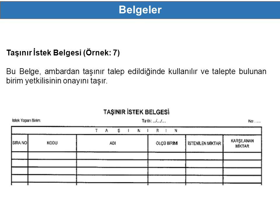 Belgeler MERKEZİ YÖNETM - Genel Bütçeli İdareler - Özel Bütçeli İdareler - Düzenleyici ve Denetleyici Kurumlar Taşınır İstek Belgesi (Örnek: 7) Bu Belge, ambardan taşınır talep edildiğinde kullanılır ve talepte bulunan birim yetkilisinin onayını taşır.