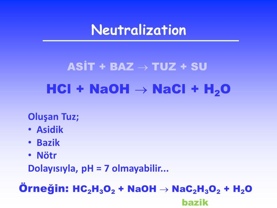 Neutralization ASİT + BAZ  TUZ + SU HCl + NaOH  NaCl + H 2 O Oluşan Tuz; Asidik Bazik Nötr Dolayısıyla, pH = 7 olmayabilir... Örneğin: HC 2 H 3 O 2
