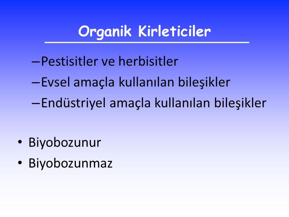 Organik Kirleticiler – Pestisitler ve herbisitler – Evsel amaçla kullanılan bileşikler – Endüstriyel amaçla kullanılan bileşikler Biyobozunur Biyobozu