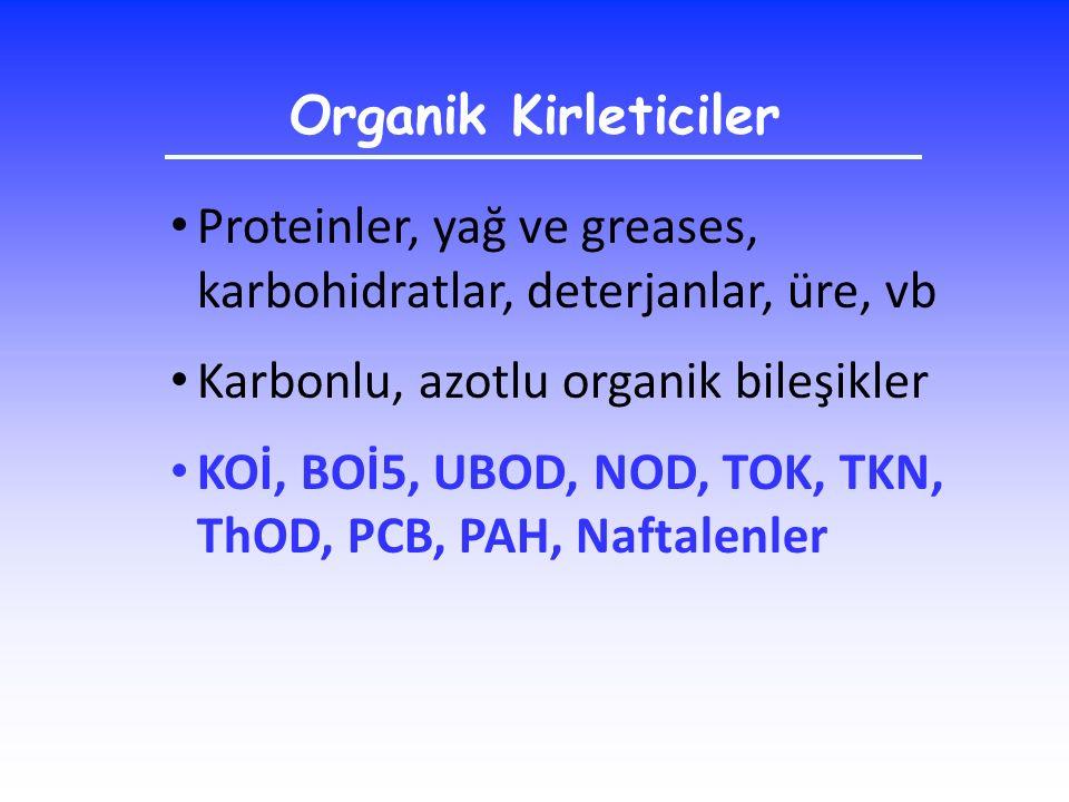 Organik Kirleticiler Proteinler, yağ ve greases, karbohidratlar, deterjanlar, üre, vb Karbonlu, azotlu organik bileşikler KOİ, BOİ5, UBOD, NOD, TOK, T