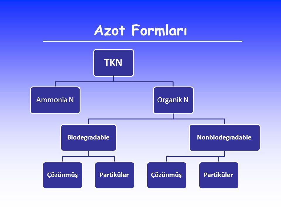 Azot Formları TKN Ammonia NOrganik N BiodegradableÇözünmüşPartikülerNonbiodegradableÇözünmüşPartiküler