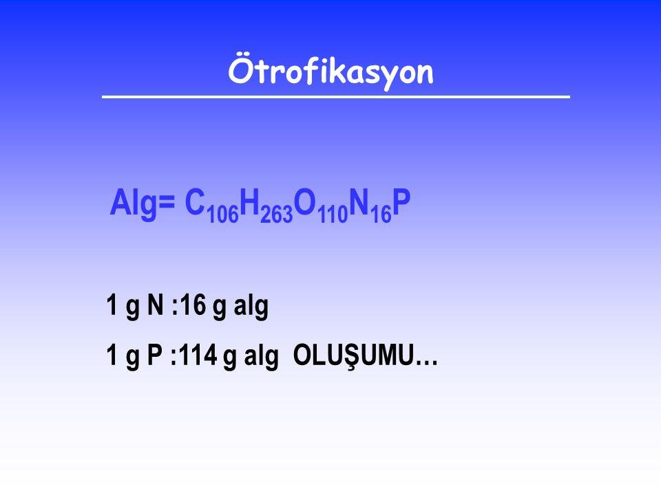 Alg= C 106 H 263 O 110 N 16 P 1 g N :16 g alg 1 g P :114 g alg OLUŞUMU… Ötrofikasyon